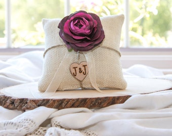 Plum Ranunculus custom ivory burlap ring bearer pillow  shabby chic with engraved heart  initials... many more colors available