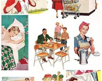 HOUSEWIFE VINTAGE RETRO women 1950s woman Digital GraphicsDownload Digital Collage Sheet