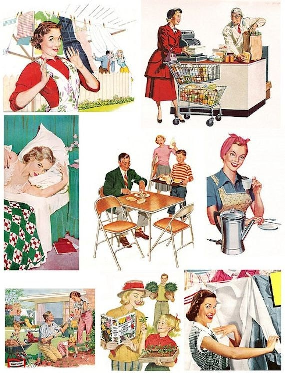 Housewife vintage retro women 1950s woman digital for Classic 50s housewife