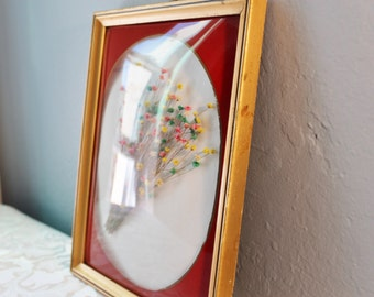 8 by 10 convex glass frame with dried flowers