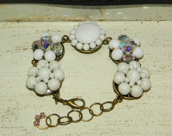 White vintage cluster earring repurposed bracelet adjustable