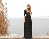 Maxi Black Lace Dress with Nude Lining