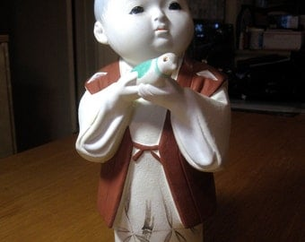 Vintage Japanese Hakata Ceramic Porcelain Bisque Boy Doll Figurine.