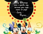Yellow Minnie Mouse Thank you Card, Minnie Mouse Party Thank you Note