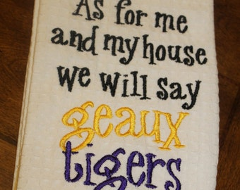 Louisiana State University LSU Geaux Tigers monogrammed kitchen towel/dish cloth-tailgating-shower-purple and gold-go tigers