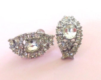 Vintage Rhinestone Screw On Earrings Retro Fashion Mad Men Brides Wedding Jewelry