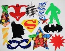 12 Piece Superhero Iron On Applique Set for Onesies, Bibs, T-shirts, Etc