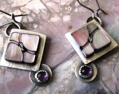 BALANCE:  Vintage Smoky Mother of Pearl and Amethyst Sterling Silver Dangle Earrings Jewelry