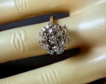 1950s Snowflake Diamond Cluster Ring .92Ctw White Gold 14K 4.5gm Size 6.25