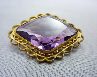 Vintage Edwardian Purple Amethyst Glass Brooch