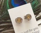 """The """"Laura"""" - 40 caliber bullet casing stud earrings with or without rhinestone"""