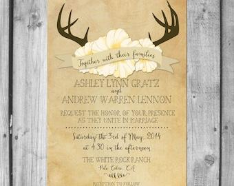 Deer Antlers and Wildflowers Wedding Invitation Set