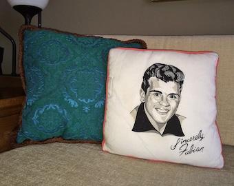 Vintage FABIAN Pillow 1960s Fabian Collectible Souvenir Pop Star Musician Heart throb Mad Men Era Bedroom Decor Kitsch Music Collection