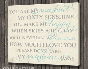 Personalized You Are My Sunshine My Only Sunshine Sign On Canvas, Child's Room Nursery Art