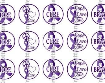 Pancreatic Cancer Purple Ribbon Awareness  Bottlecap Digital Download