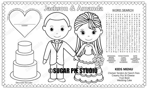 PRINTABLE Personalized Wedding Favor Menu Placemat Place-mat