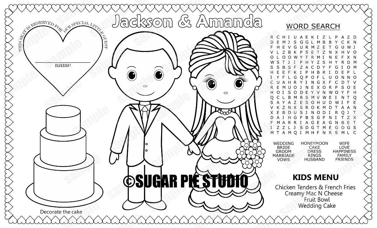 printable personalized wedding favor menu placemat place mat