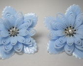 1950's Soft Plastic Earrings. - Extra Large - Rhinestone Earrings - Blue Vintage Earrings - Clip-ons