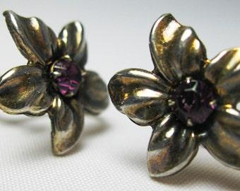 Vintage Earrings - Antiqued Brass -  Plum Rhinestone - Screw-backs.