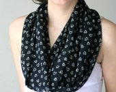 Valentine's Day Heart Print Black Infinity Scarf - Loop Scarf - Circle Scarf - Spring Summer Fall Winter Fashion - Women Teens Accessories