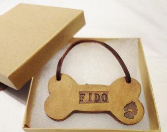 Personalized Dog Bone Ornament, Custom Hanging Dog Bone, Dog Bone Christmas Ornament, Paw Print Dog Bone Ornament, Hanging Dog Bone Ornament