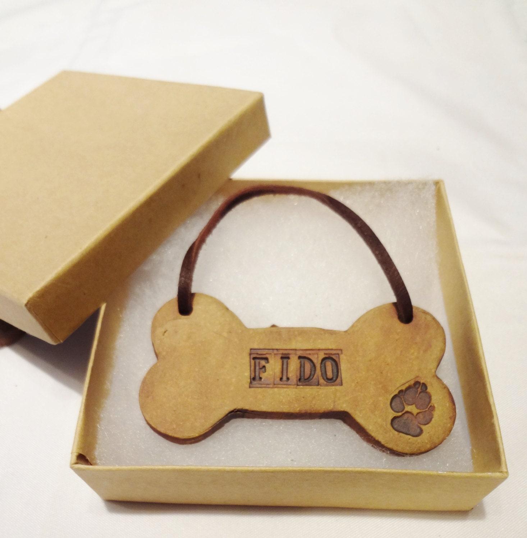 Personalized dog bone ornament custom hanging dog by for Dog bone ornaments craft