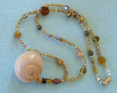 Vintage Artisan Necklace with Seashell Glass Beads Stone. Beach Wear Resort Jewelry