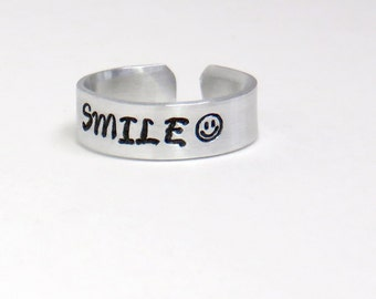 SMILE ring smiley face ring - Stamped aluminum ring - Jewelry for men Jewelry for women - Happy ring inspirational jewelry