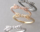 CZ Cute Bow Ring in White Gold, Rose Gold, Yellow Gold, Black - Bow Jewelry
