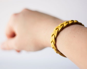 Braided Leather Bracelet / Bright Yellow