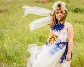 Boho Flower Girl Dress Cream and Gold and Blue, Dress for tweens, Junior Bridesmaids