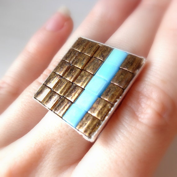 Bronze and Turquoise Statement Ring, Cocktail Ring, Asymmetrical Stripe, Geometric, Big, Adjustable, Square Ring
