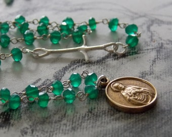 Green Onyx and Vintage Brass St. Therese and Jesus Rosary Medal Necklace, Sterling Silver Artisan Cross, Religious Necklace, Religious Gift