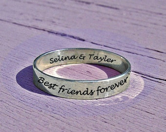 Best friends ring, 3.5 mm personalized ring, mothers ring, best-friends ring, stacking rings, personalized quote, pinkie ring, ring for her