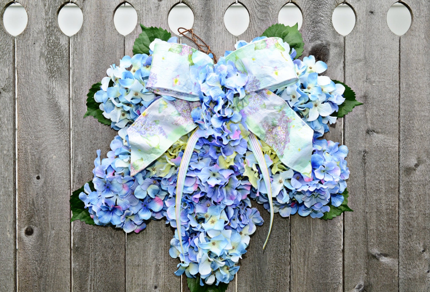 hydrangea spring wreath home decor blue by julieshomecreations french rose artificial silk peony flower arrangement room