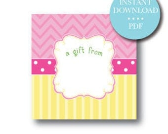 Gift Stickers or Gift Tags - Pink and Yellow Lemonade - INSTANT DOWNLOAD