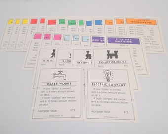 Comeplete Set of Vintage Monopoly Title Deed Cards