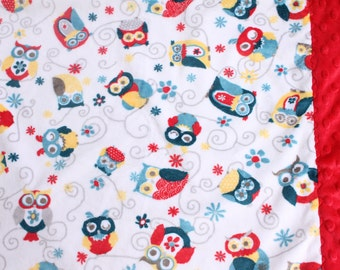 Travel Pillowcase - Owl Print Minky Pillowcase with Red Dimple Dot Minky Border - great for a Toddler or Travel Pillow