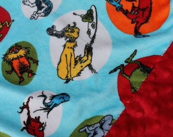Travel Pillowcase - Dr Suess Turquoise Minky with Red Dimple Dot Minky Border - great for a Toddler or Travel Pillow