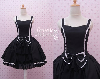Gothic Lolita Dress - Rococo Retro Vintage Inspired -  Ruffle Tiered Tea Party Halloween Prom Plus Size