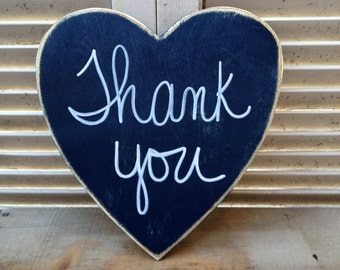 Distressed Navy Blue and White Thank You Heart Wedding Sign Rustic Heart Wedding Photo Prop Sign