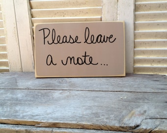 Distressed Khaki and Black Please Leave A Note Sign, Wooden Khaki Wedding Signs, Rustic Wedding Note Sign, Reception Signs