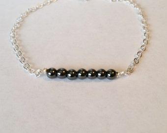 Hematite Beaded Bar Bracelet