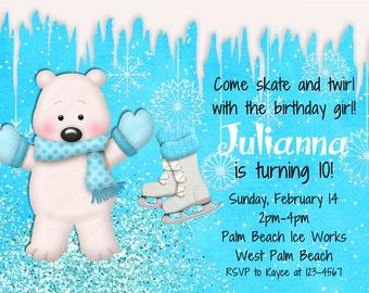 Ice Skating Birthday Invitation - Ice Skating Party - Winter Birthday - Snowflakes and Ice Skates Invite Polar Bear Printable Party Design
