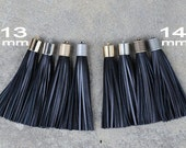 Black Leather (Cowhide) TASSEL in 13 or 14mm Cap -4 colors Plated Cap- Pick cap size, cap color & trimmed size