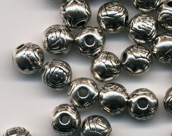 Silver Etched Metal Spacer Beads - Lead and Cadmium Free - 6mm round - Set of 50