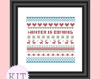 KIT Cross Stitch Winter is Coming Sampler