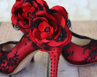 Rockabilly Wedding Shoes / Red Lace Heels / Black and Red Wedding / Black Lace Wedding Shoes / Custom Wedding Peeptoes
