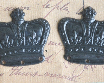 Brass crown stampings with three holes, FOUR, Black Satin Finish