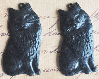 Brass Kitten Charms - Black Satin Finish- TWO- Jewelry Supplies by CalliopesAttic